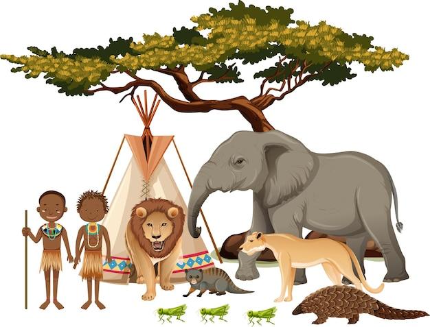 Afrikanischer stamm mit gruppe wilder afrikanischer tiere auf weißem hintergrund