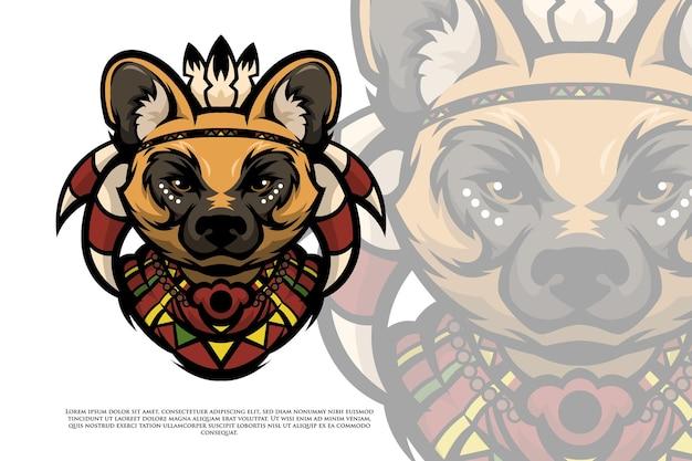 Afrikanischer stamm wilder hund illustration
