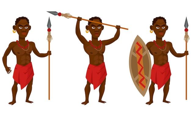 Afrikanischer stammeskrieger in verschiedenen posen. weibliche figur in der karikaturartillustration