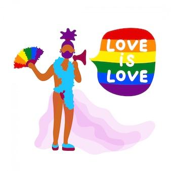 Afrikanischer transgender-aktivist mit fan und sprecher