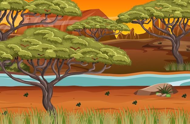 Afrikanischer waldlandschaftshintergrund