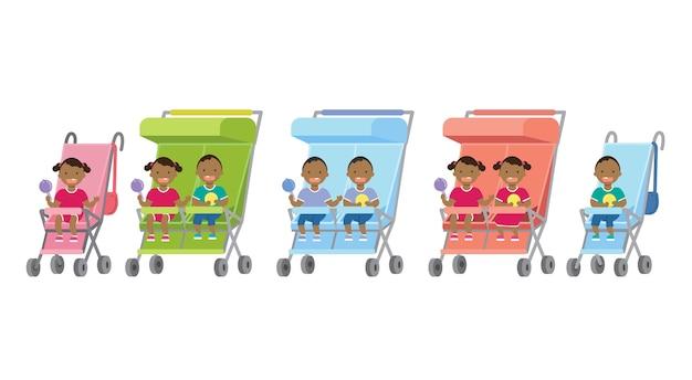 Afrikanisches gesetztes baby mit spielwarenzwillingen