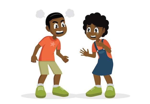 Afrikanisches jungenkind wütend und schreit zu kleinem mädchenvektor eps10