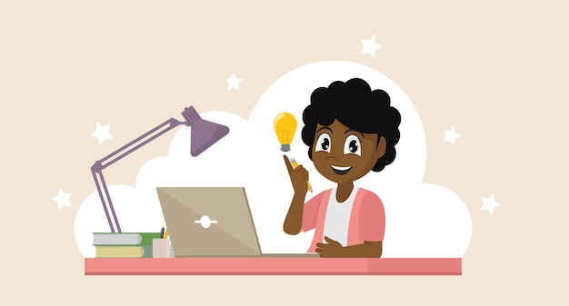 Afrikanisches mädchen mit seinem laptop, der sein bildungsbildungskonzept ausdrückt