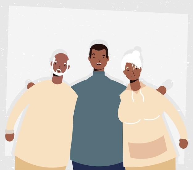 Afro alte eltern paar mit mann charaktere