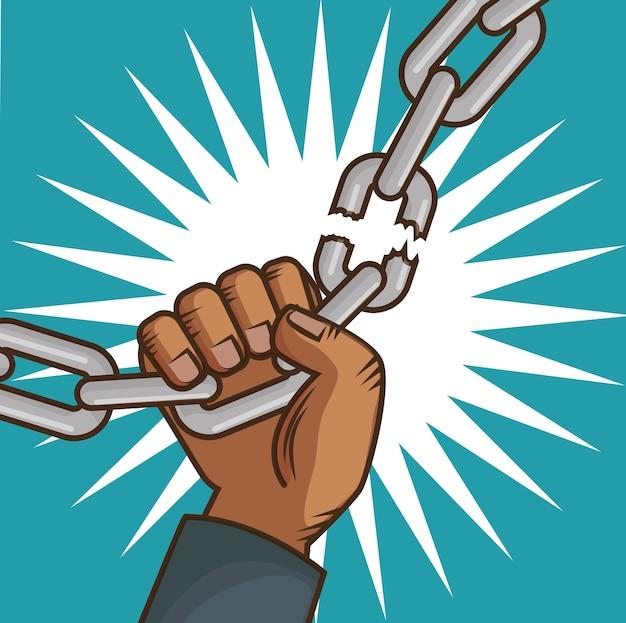 Afro-amerikanische personenhand, die eine kette bricht