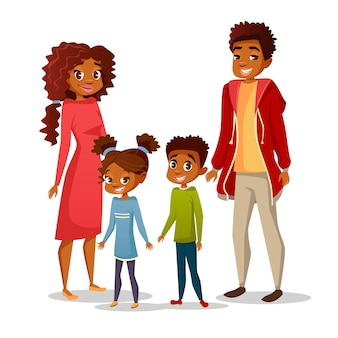 Afro-amerikanische schwarze familie in freizeitkleidung
