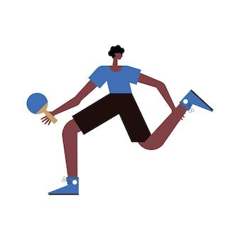 Afro athletischer mann, der tischtennis spielt