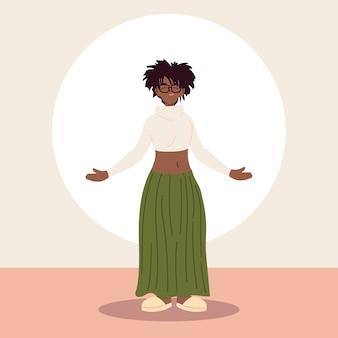 Afro frau, die freizeitkleidung trägt.