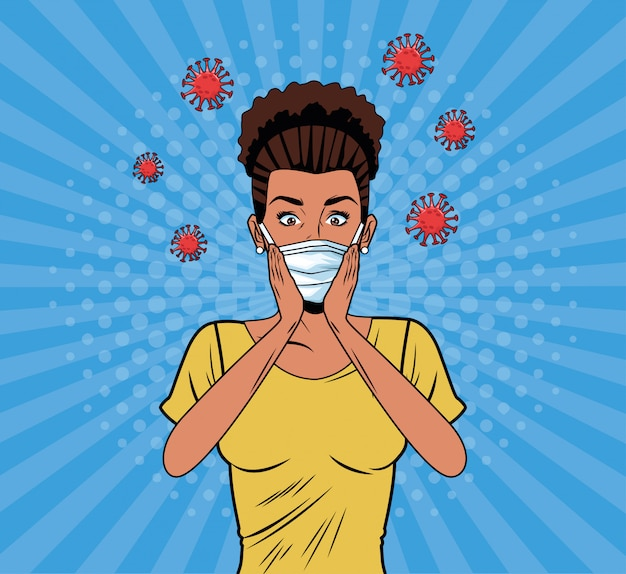 Afro-frau mit gesichtsmaske für covid19 pop-art-stil