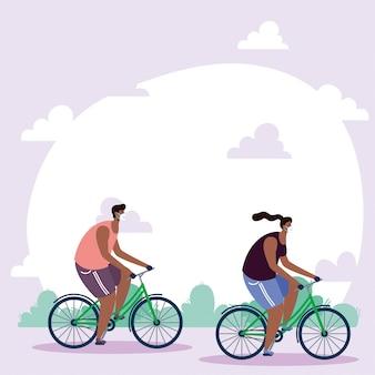 Afro junges paar, das medizinische masken in fahrrädern trägt