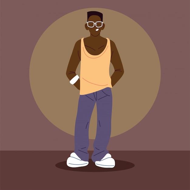 Afro-mann, der freizeitkleidung trägt