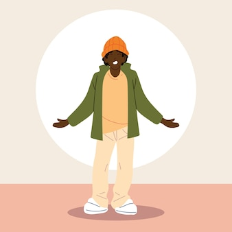 Afro-mann, der freizeitkleidung trägt.
