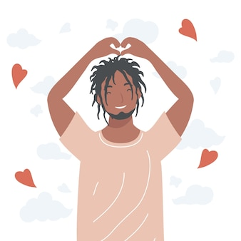 Afro-mann, der herzsymbol tut