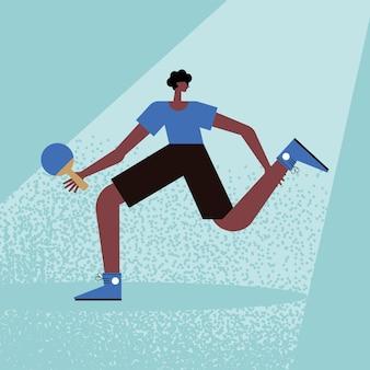 Afro-mann, der tischtennis übt