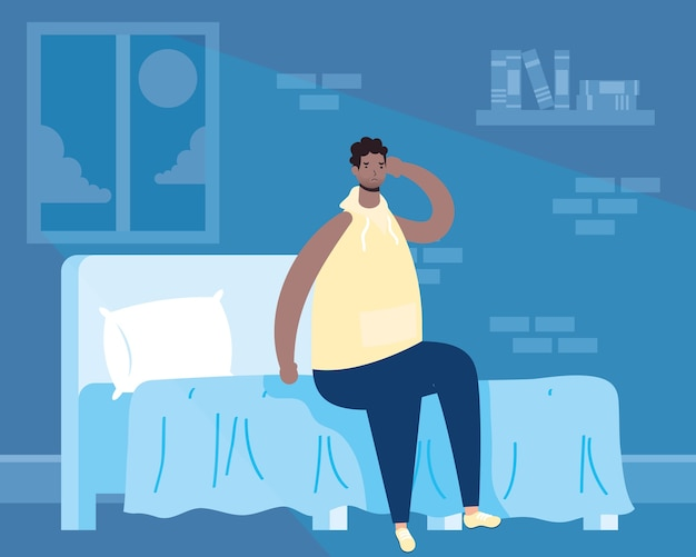 Afro-mann, der unter schlaflosigkeitscharakterillustration leidet