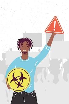 Afro-mann protestiert gegen umweltverschmutzung