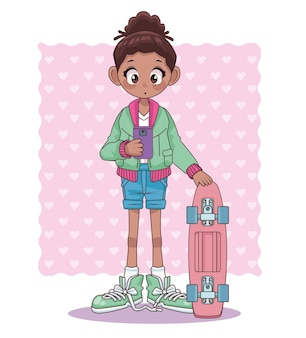 Afro-teenager-mädchen mit skateboard-anime-charakterillustration