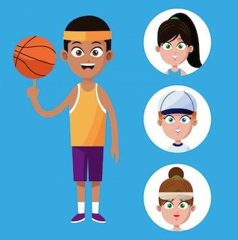 Afroamerican-spieler-basketball-spieler