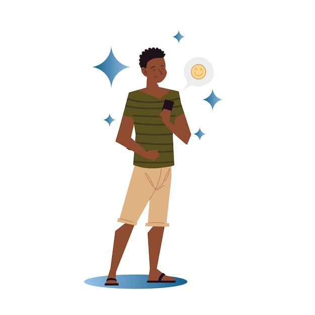 Afroamerikaner, der smartphone verwendet, das emoji-illustration sendet