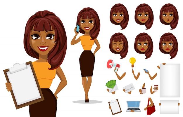 Afroamerikaner-geschäftsfrau-kreationssatz