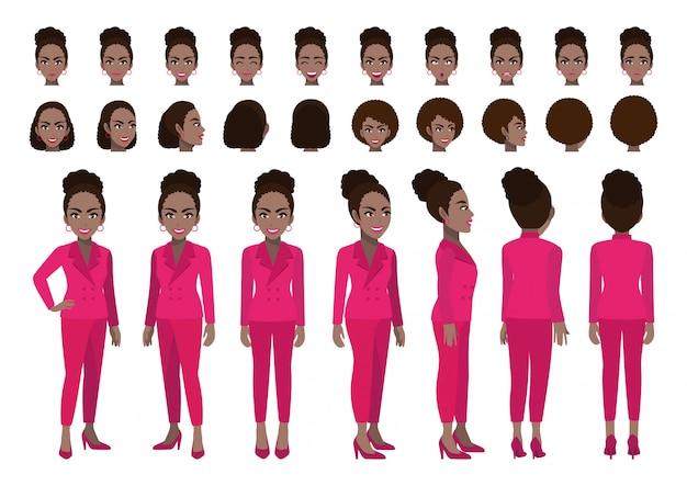 Afroamerikaner-geschäftsfrauzeichentrickfilm-figur-kopfsatz und animation