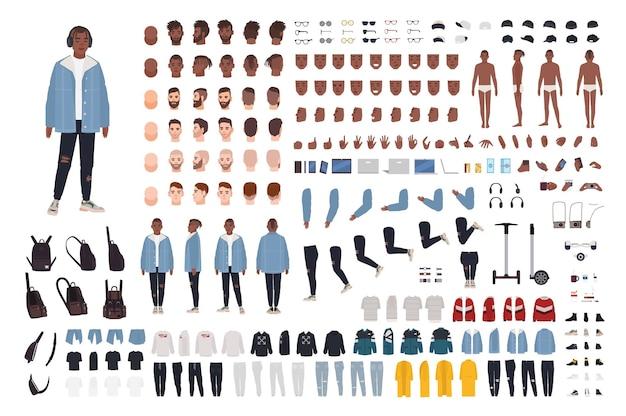 Afroamerikaner kerl im streetstyle-outfit-konstrukteurset oder im diy-kit. bündel von körperteilen, trendiger kleidung und accessoires. männliche zeichentrickfigur