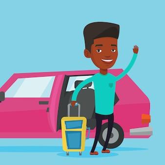 Afroamerikaner mann, der mit dem auto reist.