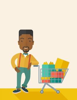 Afroamerikaner-mann mit einkaufswagen Premium Vektoren