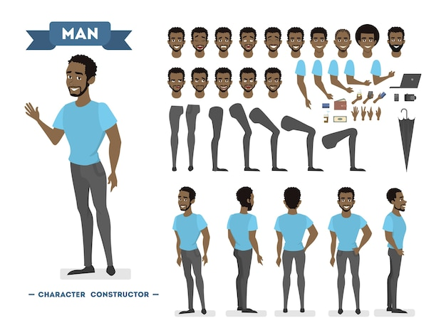 Afroamerikaner mann zeichensatz für animation mit verschiedenen ansichten, frisuren, emotionen, posen und gesten. schulausrüstungsset. isolierte vektorillustration