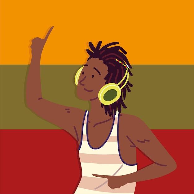 Afroamerikaner mit kopfhörern
