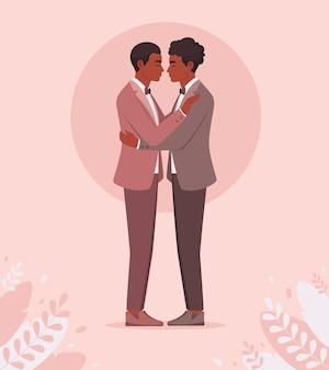 Afroamerikaner schwules paar homosexuell hochzeit lgbt und stolz konzept