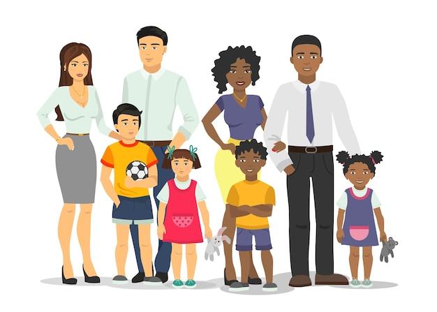 Afroamerikaner und weiße familie isolierte illustration.