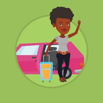 Afroamerikanerfrau, die mit dem auto reist.