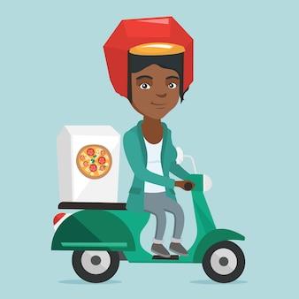 Afroamerikanerfrau, die pizza auf roller liefert