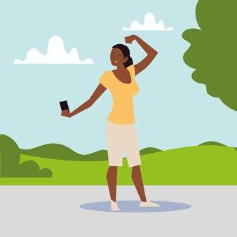 Afroamerikanerfrau, die starke geste des selfies in der parkillustration nimmt