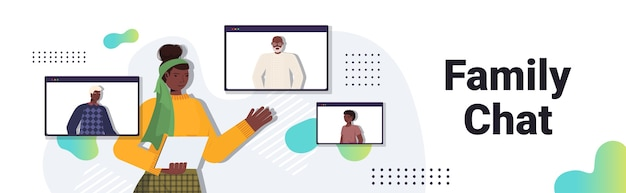 Afroamerikanerfrau, die virtuelles treffen mit familienmitgliedern im webbrowser-windows-videoanruf hat