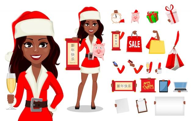 Afroamerikanerfrau im weihnachtsmann-kostüm