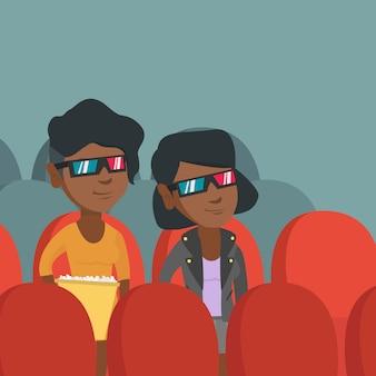 Afroamerikanerfrauen, die film 3d aufpassen.