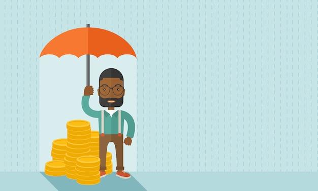 Afroamerikanergeschäftsmann mit regenschirm als schutz für seine investition.