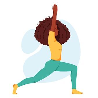 Afroamerikanerin, die yoga praktiziert, gesunder lebensstil, selbstpflege, entspannung, meditation