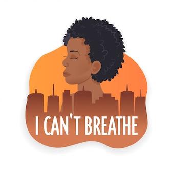 Afroamerikanerin gegen rassendiskriminierung ich kann nicht leben schwarze leben materie konzept atmen