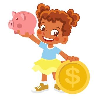 Afroamerikanermädchen, das sparschwein und geld hält