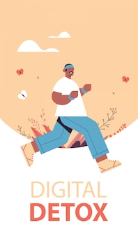 Afroamerikanermann, der kerl läuft, der zeit ohne gadgets digitales entgiftungskonzept des gesunden lebensstils verbringt, das internet und soziale netzwerke in voller länge vertikaler vektorillustration aufgibt
