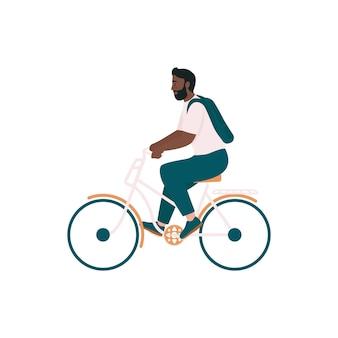 Afroamerikanermann in der flachen farbe detaillierter charakter des fahrrads