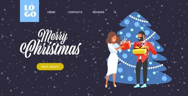 Afroamerikanerpaar, das geschenkgeschenkboxen einander frohe weihnachten winterferienfeierkonzept-grußkarte in voller länge horizontale vektorillustration gibt
