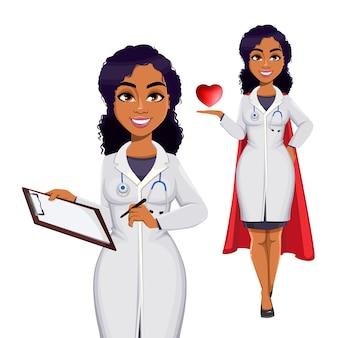 Afroamerikanische ärztin mit weißem kittel mit stethoskop