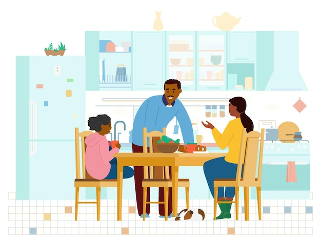 Afroamerikanische familie, die zeit zusammen in der küche verbringt