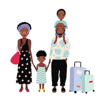 Afroamerikanische familie im urlaub. mutter, vater und kinder reisen zusammen.