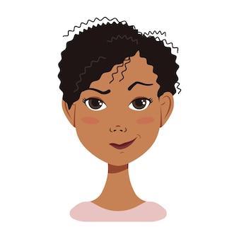 Afroamerikanische frau avatar gesicht symbol mit schwarzem haar mit emotion attraktiver charakter